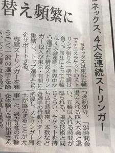 7906 - ヨネックス(株) 本日の日経新聞より ヨネックス、4大会連続ストリンガー 東京五輪でテニスラケットのストリング張りを一