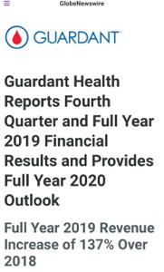 GH - ガーダント・ヘルス ガーダントヘルス4Q決算  売上 四半期 6290万ドル(昨対+91%)    通年 2億1440万