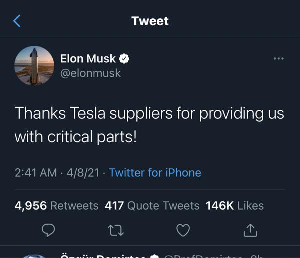 TSLA - テスラ イーロンのツイートw  半導体はきちんとテスラの為に納入されてるって事だね。