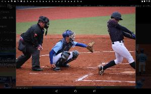 明治学院大学野球部を応援します! [ 河合一塁手の見事な打撃フォーム ]  初回表に先制ツーランを放った河合選手の画像も借用して掲載し