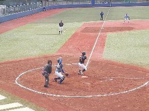 明治学院大学野球部を応援します! [ 玉谷主将の打席画像 ]  玉谷主将は4回表から5番・DHの代打として登場し三度打席に立った。画像