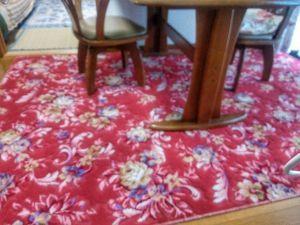 50歳以上の集会所で語らいを 食堂のジュータンを替えた。 某ホテルでも使われているという 赤地に綺麗に花柄が映える こぼしたりしな