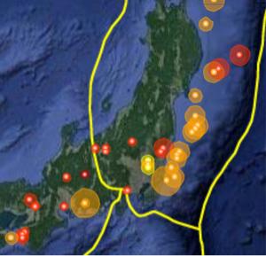 1813 - (株)不動テトラ 直近14日の地震分布図 気になるのは愛知と三陸沖のプレート付近 要警戒地区が多すぎ