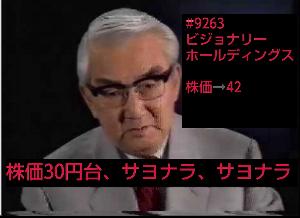 9263 - (株)ビジョナリーホールディングス 30円台はもしかして❗  サヨナラ、さよなら、サヨナラですかぁ❗