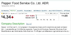 3053 - (株)ペッパーフードサービス 4.34  -0.51 -10.52%