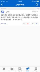 2926 - (株)篠崎屋 昨日の夜間PTSは加熱し過ぎていたから嫌な予感は的中した。昨日のPTSで買い、今日損切りした人達には