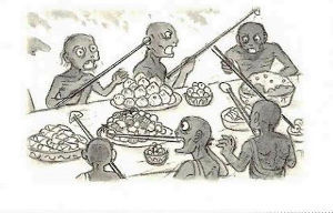 イソップ物語 極楽の食事風景はわからなくても 地獄の食事風景は、想像できる。  みんな長い箸で他者の料理を奪い合う
