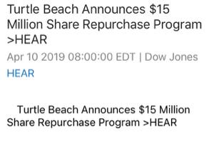 HEAR - タートルビーチ $12mil 自社株買い発表