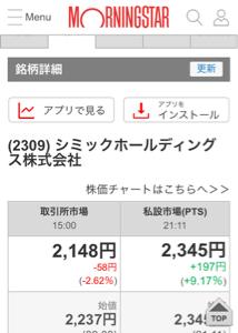 2309 - シミックホールディングス(株) 2706円が S高 だから そこまで行かなくても ptsで 100買った人 正解です。 それは超える